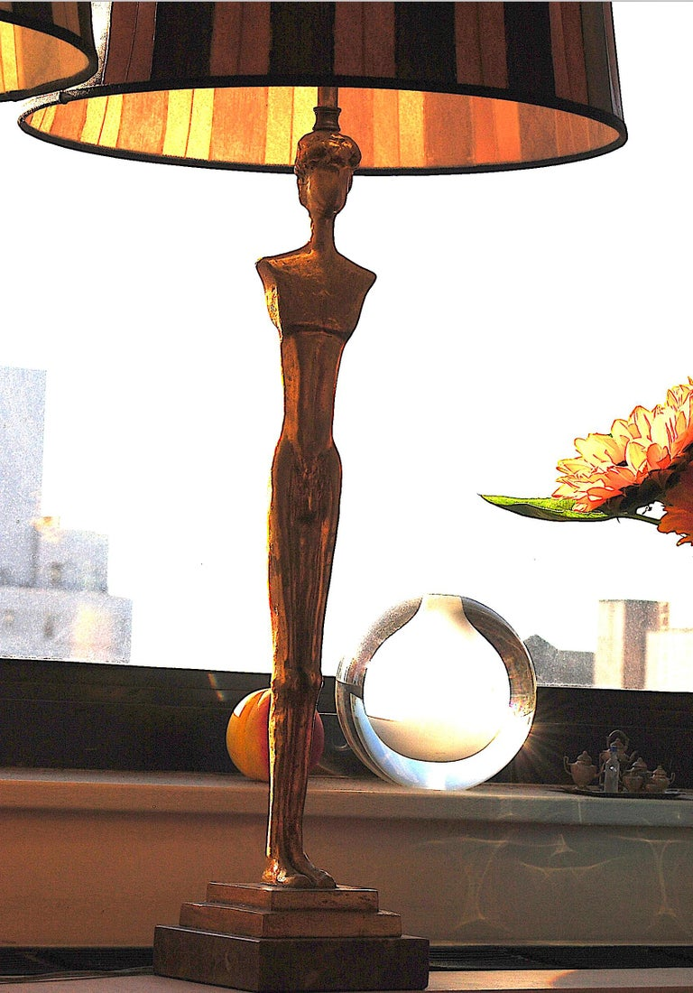 Pair of 20th Century Gold Leaf Bronze Table Lamps in the Style of Giacometti For Sale 1