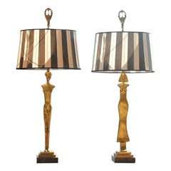 Pair of 20th Century Gold Leaf Bronze Table Lamps in the Style of Giacometti