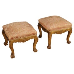 Pair of 20th Century Gold Wood and Fabric Italian Footstools, 1950