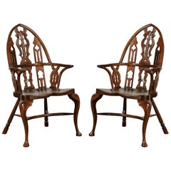 Pair of 20th Century Gothic Style Windsor Armchairs
