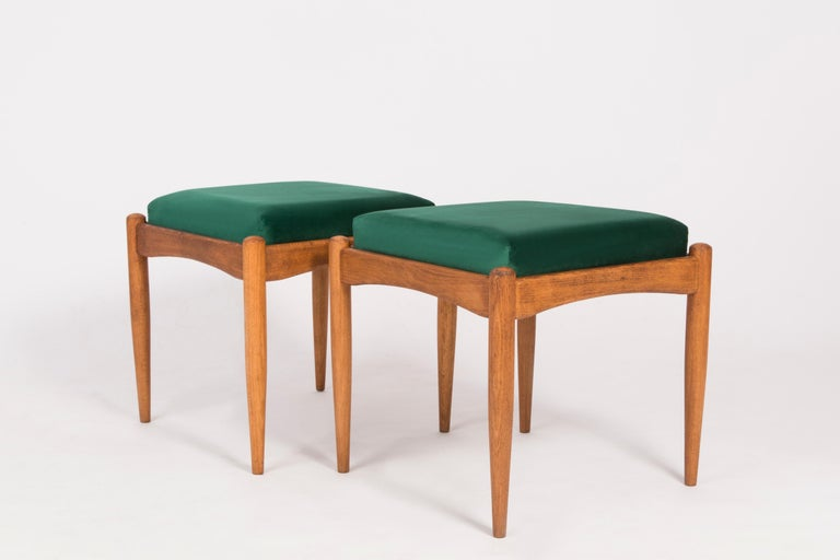 Mid-Century Modern Pair of 20th Century Green Stools, 1960s For Sale