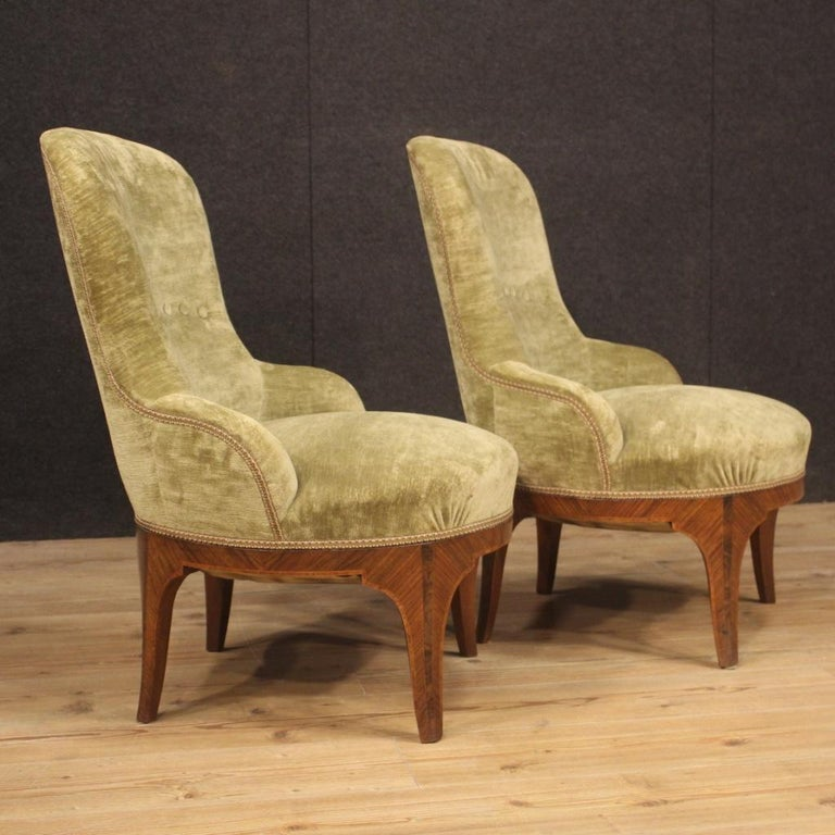 Pair of 20th Century Green Velvet and Wood Italian Louis XV Style Armchairs 1950 For Sale 7