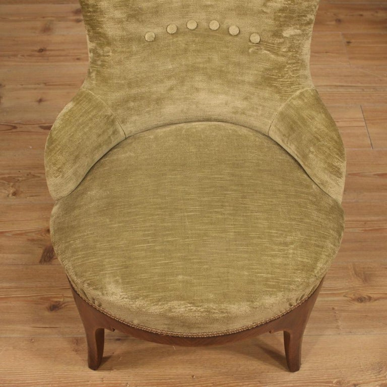 Pair of 20th Century Green Velvet and Wood Italian Louis XV Style Armchairs 1950 For Sale 8