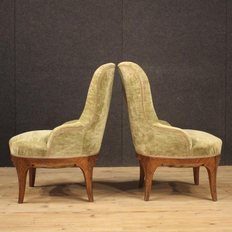 Pair of 20th Century Green Velvet and Wood Italian Louis XV Style Armchairs 1950 In Good Condition For Sale In Vicoforte, Piedmont