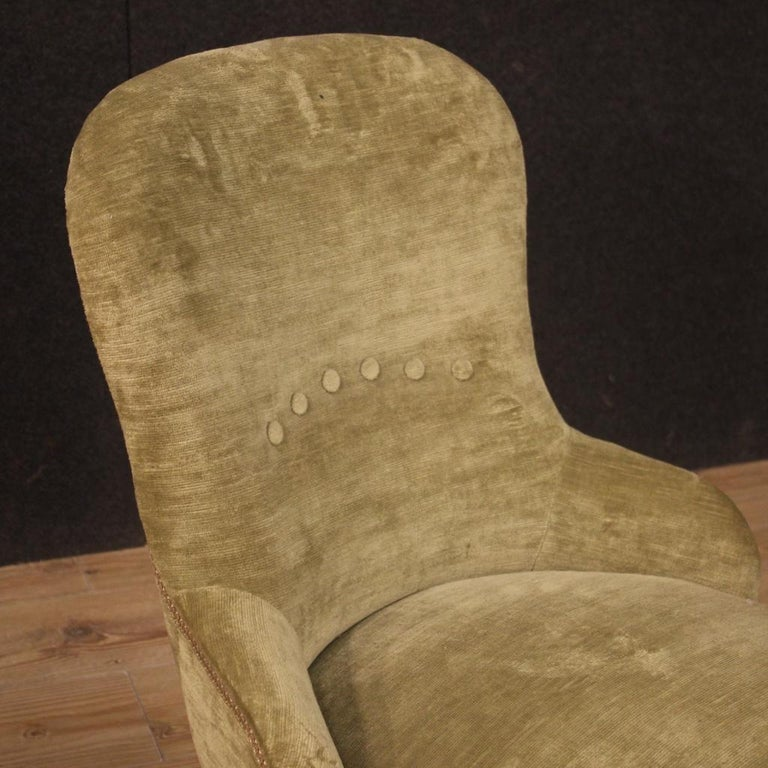 Pair of 20th Century Green Velvet and Wood Italian Louis XV Style Armchairs 1950 For Sale 1