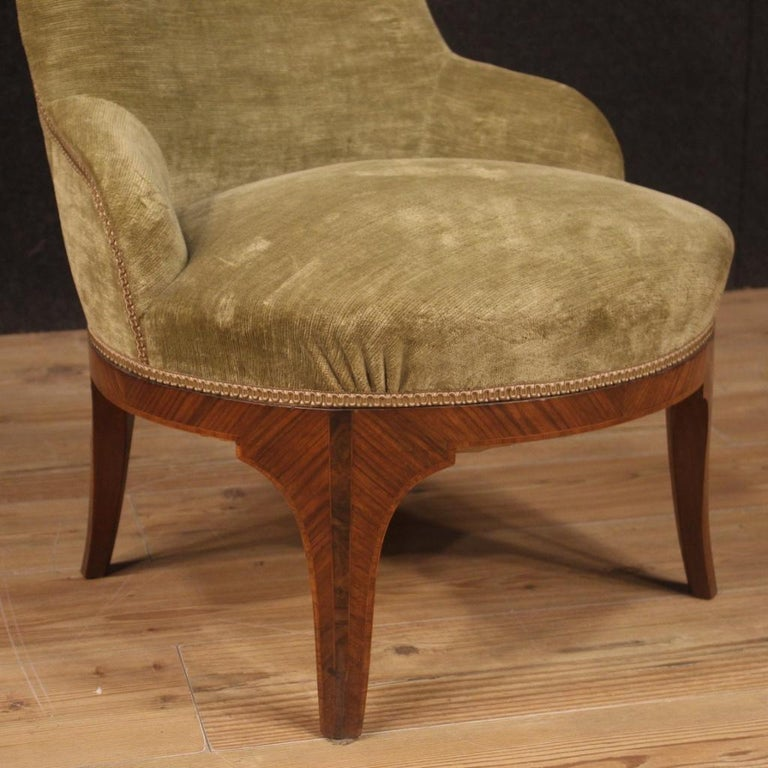 Pair of 20th Century Green Velvet and Wood Italian Louis XV Style Armchairs 1950 For Sale 2