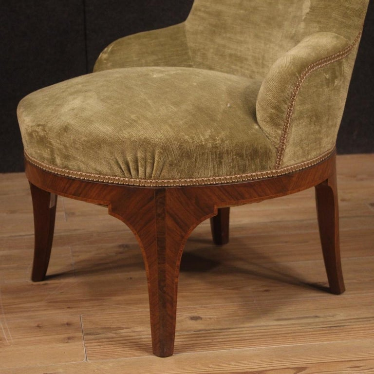 Pair of 20th Century Green Velvet and Wood Italian Louis XV Style Armchairs 1950 For Sale 3