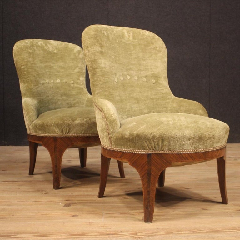 Pair of 20th Century Green Velvet and Wood Italian Louis XV Style Armchairs 1950 For Sale 5