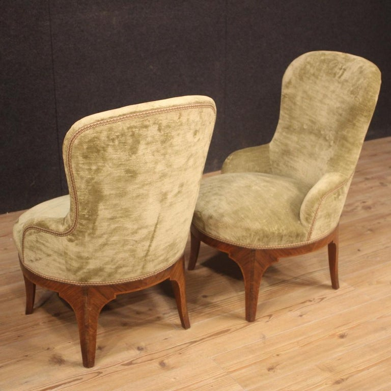 Pair of 20th Century Green Velvet and Wood Italian Louis XV Style Armchairs 1950 For Sale 6