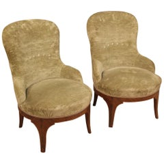 Pair of 20th Century Green Velvet and Wood Italian Louis XV Style Armchairs 1950