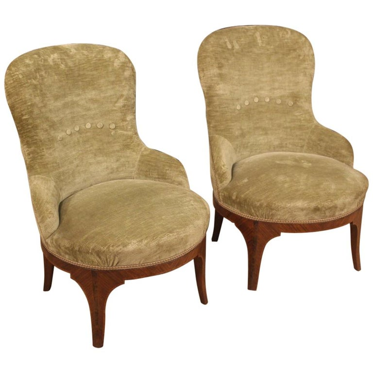 Pair of 20th Century Green Velvet and Wood Italian Louis XV Style Armchairs 1950 For Sale