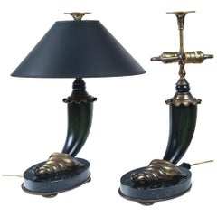 Pair of 20th Century Horn and Brass Table Lamps