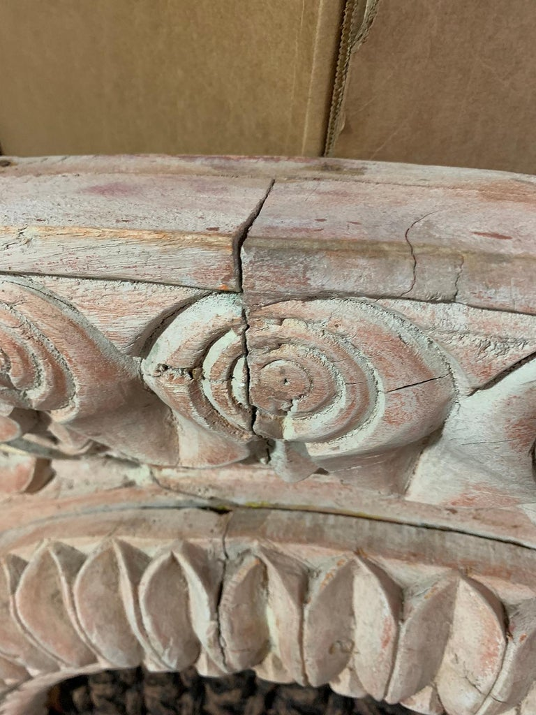 Pair of 20th Century Indian Carved and Painted Architectural Transoms For Sale 11