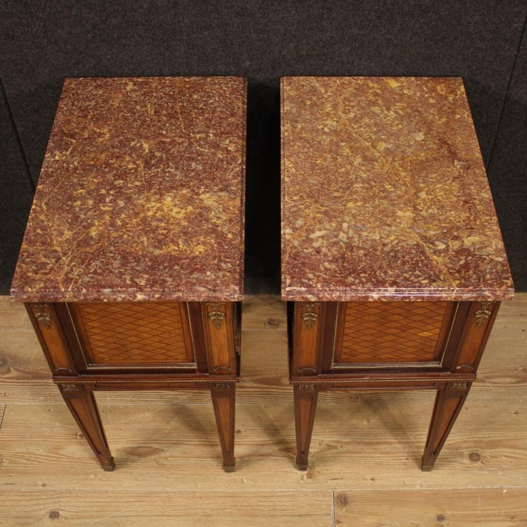 Pair of 20th Century Inlaid Wood French Louis XVI Style Bedside Tables, 1960 4