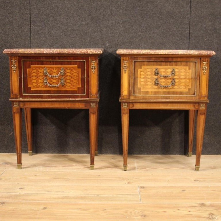 Inlay Pair of 20th Century Inlaid Wood French Louis XVI Style Bedside Tables, 1960