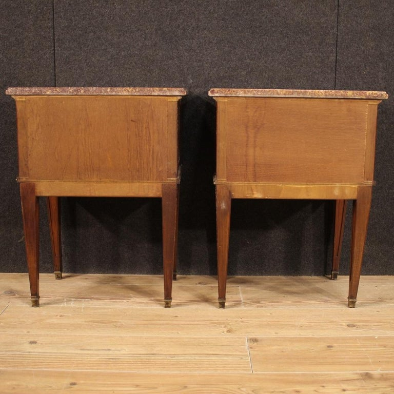 Pair of 20th Century Inlaid Wood French Louis XVI Style Bedside Tables, 1960 In Good Condition In Vicoforte, Piedmont