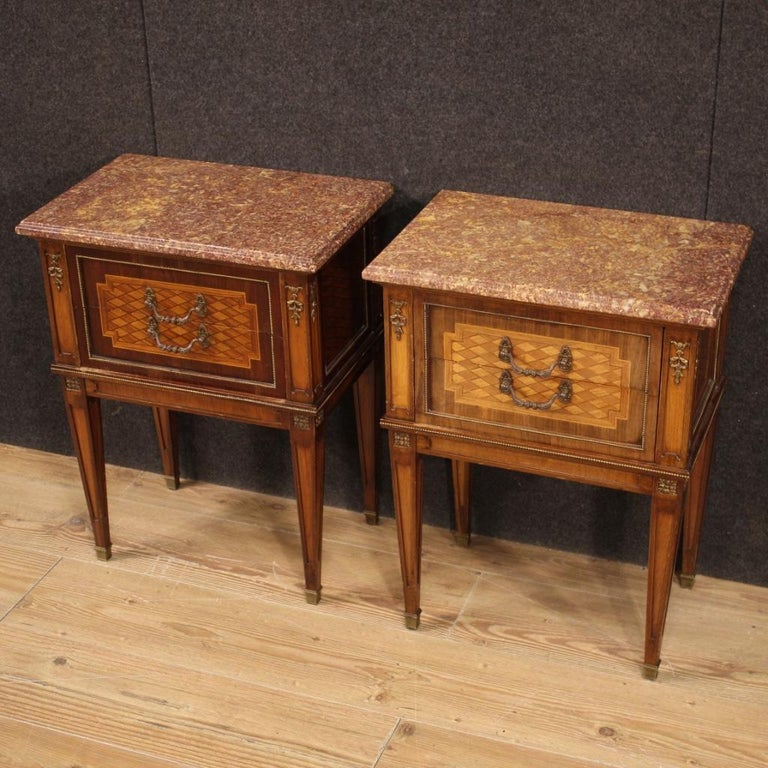 Mid-20th Century Pair of 20th Century Inlaid Wood French Louis XVI Style Bedside Tables, 1960