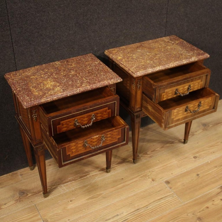 Pair of 20th Century Inlaid Wood French Louis XVI Style Bedside Tables, 1960 1