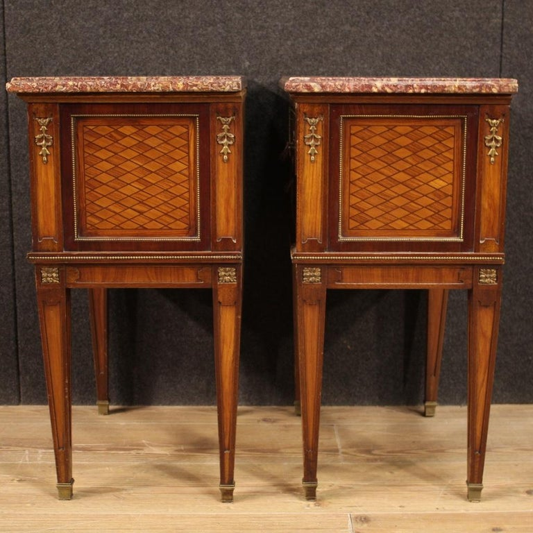 Pair of 20th Century Inlaid Wood French Louis XVI Style Bedside Tables, 1960 2