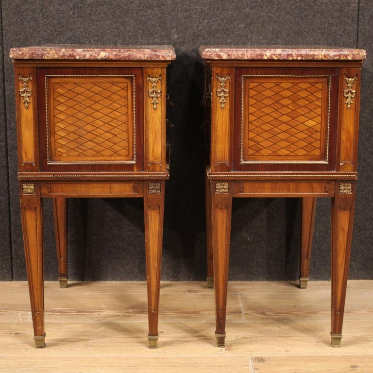 Pair of 20th Century Inlaid Wood French Louis XVI Style Bedside Tables, 1960 3