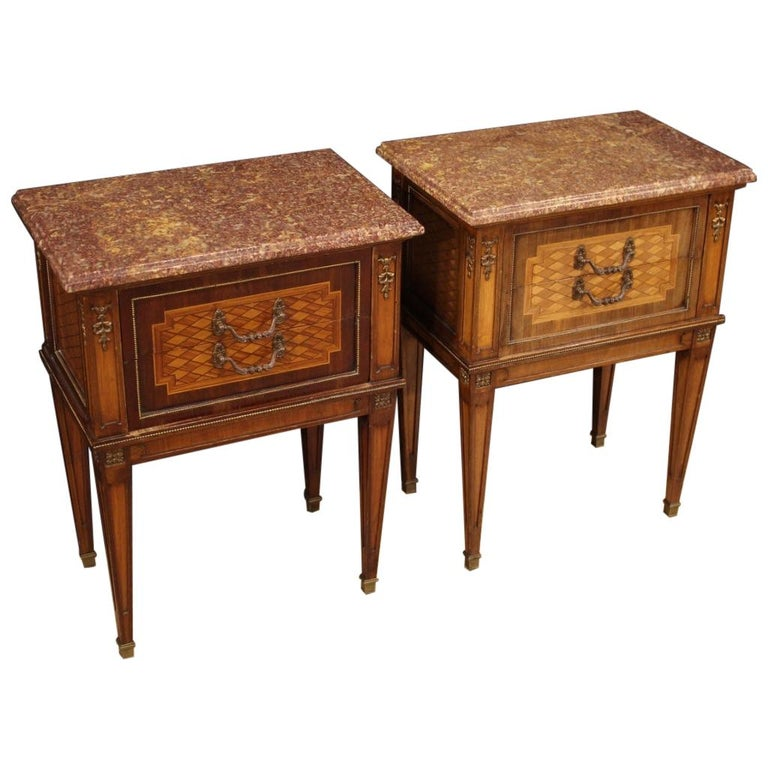 Pair of 20th Century Inlaid Wood French Louis XVI Style Bedside Tables, 1960