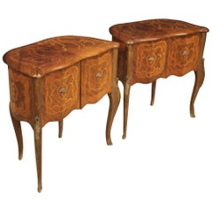 Pair of 20th Century Inlaid Walnut Rosewood Beech Italian Bedside Tables, 1950