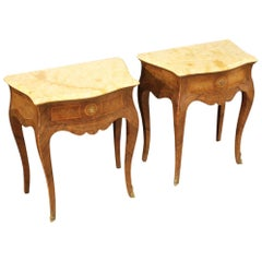 Pair of 20th Century Inlaid with Marble-Top Italian Louis XV Style Nightstands