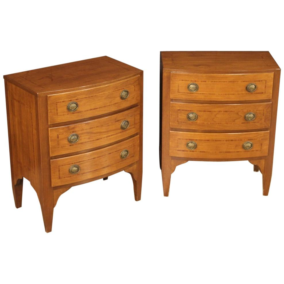 Pair of 20th Century Inlaid Wood English Bedside Tables, 1970