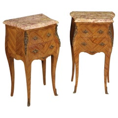 Pair of 20th Century Inlaid Wood French Bedside Tables, 1950