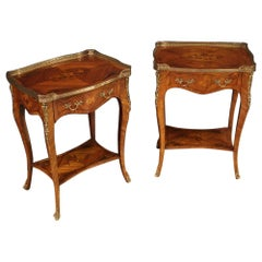 Pair of 20th Century Inlaid Wood French Bedside Tables, 1960