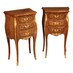 Pair of 20th Century Inlaid Wood French Napoleon III Bedside Tables, 1950
