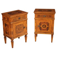 Pair of 20th Century Inlaid Wood Louis XVI Style Italian Bedside Tables, 1970