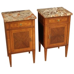 Pair of 20th Century Inlaid Wood Marble-Top Louis XVI Style Italian Nightstands
