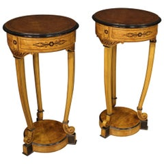 Pair of 20th Century Inlaid Wood Round Italian Side Tables Columns, 1960