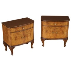 Pair of 20th Century Inlaid Wood with Glass Top Italian Bedside Tables, 1950