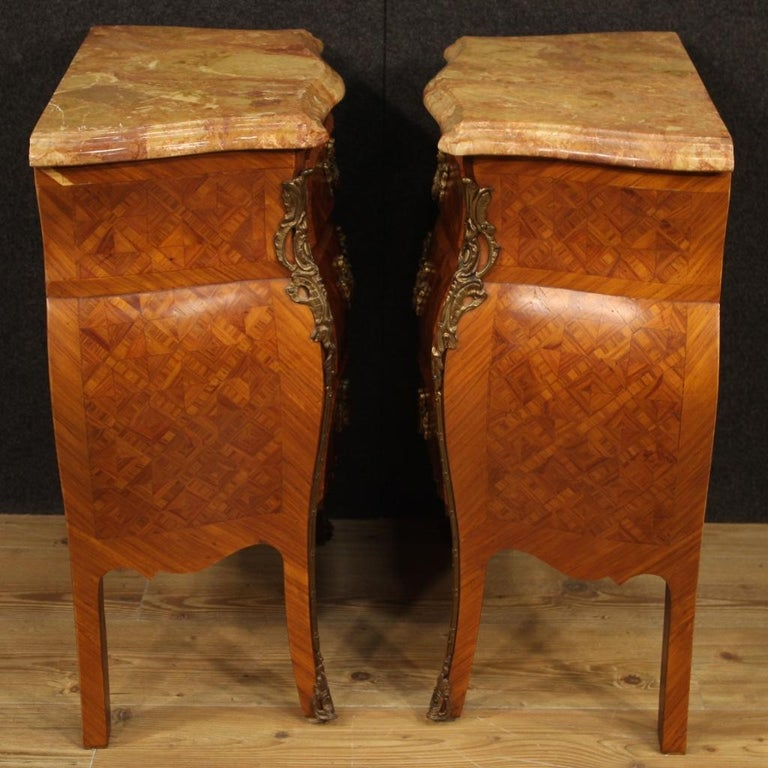 Pair of 20th Century Inlaid Wood with Marble Top French Bedside Tables, 1960 7