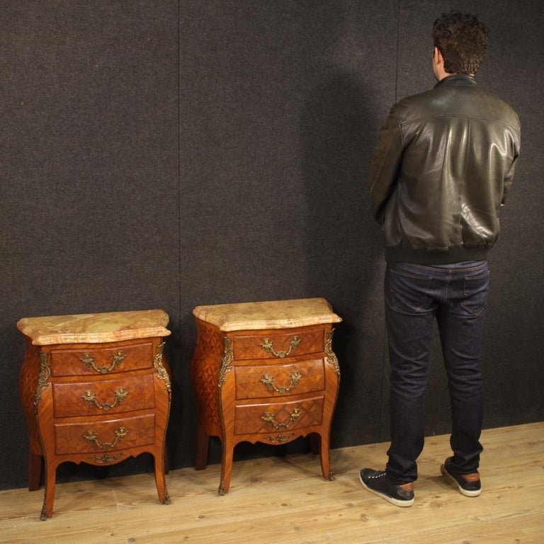 Pair of 20th Century Inlaid Wood with Marble Top French Bedside Tables, 1960 9