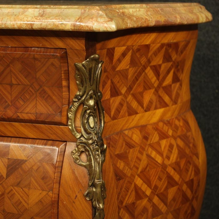 Pair of 20th Century Inlaid Wood with Marble Top French Bedside Tables, 1960 1