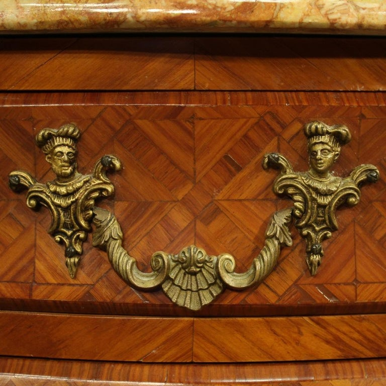 Pair of 20th Century Inlaid Wood with Marble Top French Bedside Tables, 1960 2