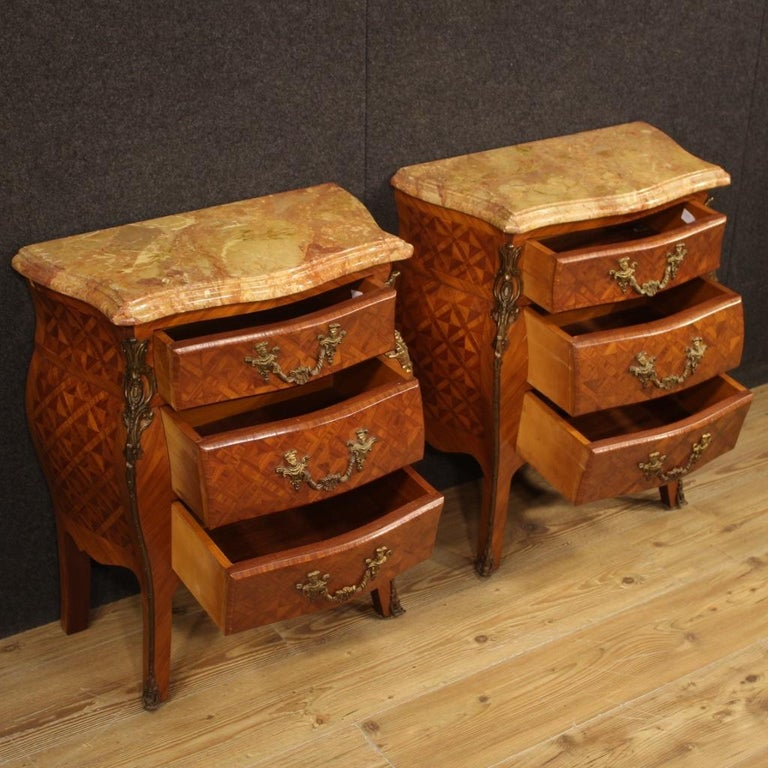 Pair of 20th Century Inlaid Wood with Marble Top French Bedside Tables, 1960 4