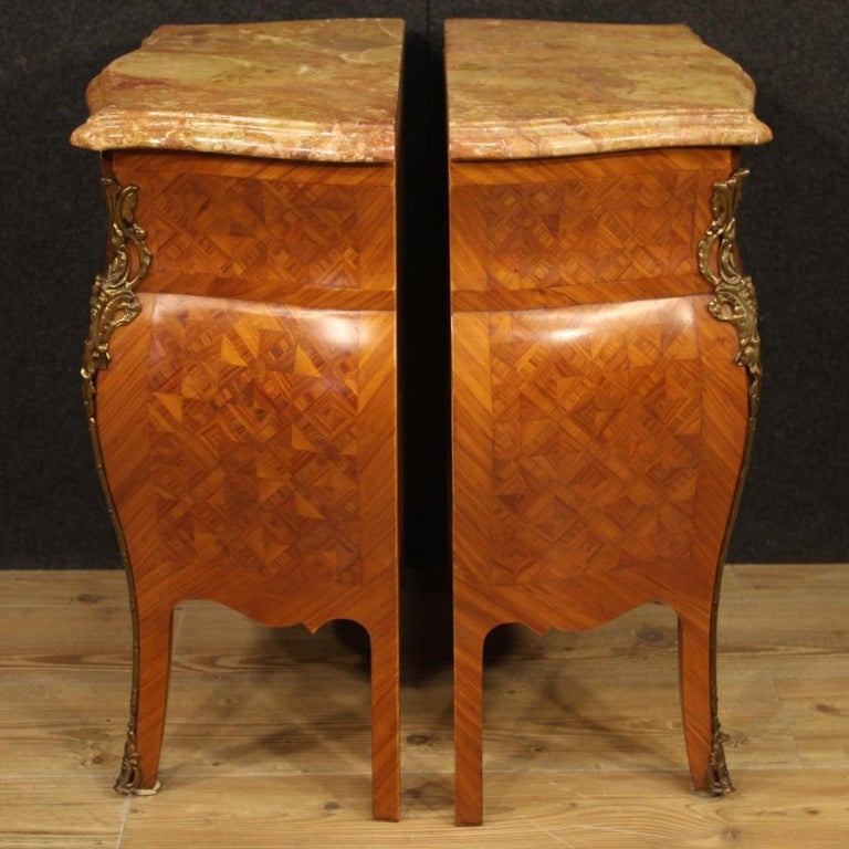 Pair of 20th Century Inlaid Wood with Marble Top French Bedside Tables, 1960 5