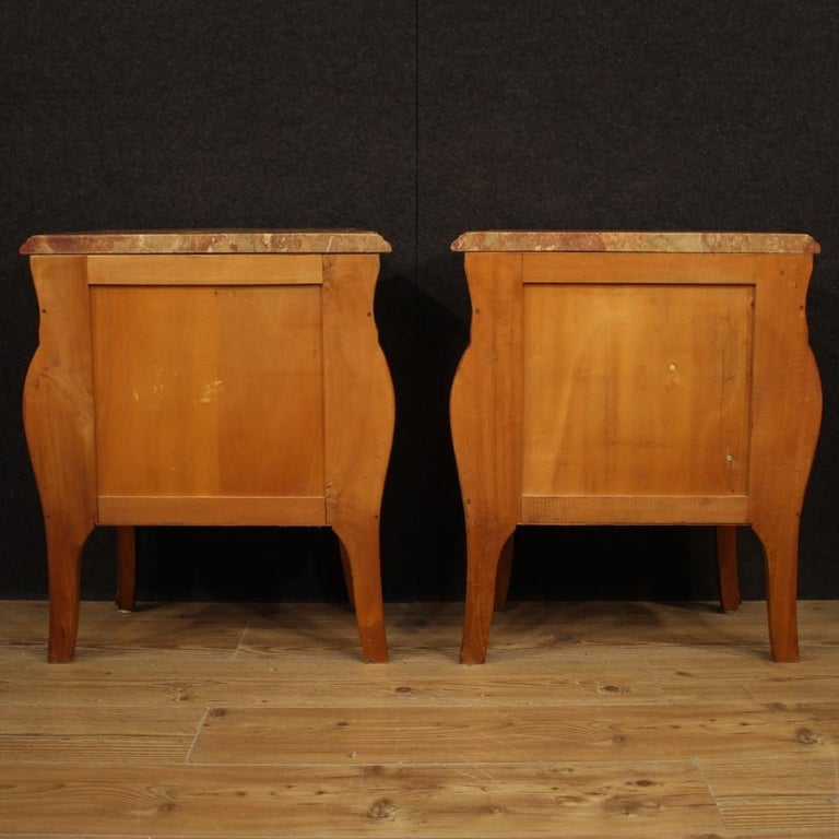 Pair of 20th Century Inlaid Wood with Marble Top French Bedside Tables, 1960 6