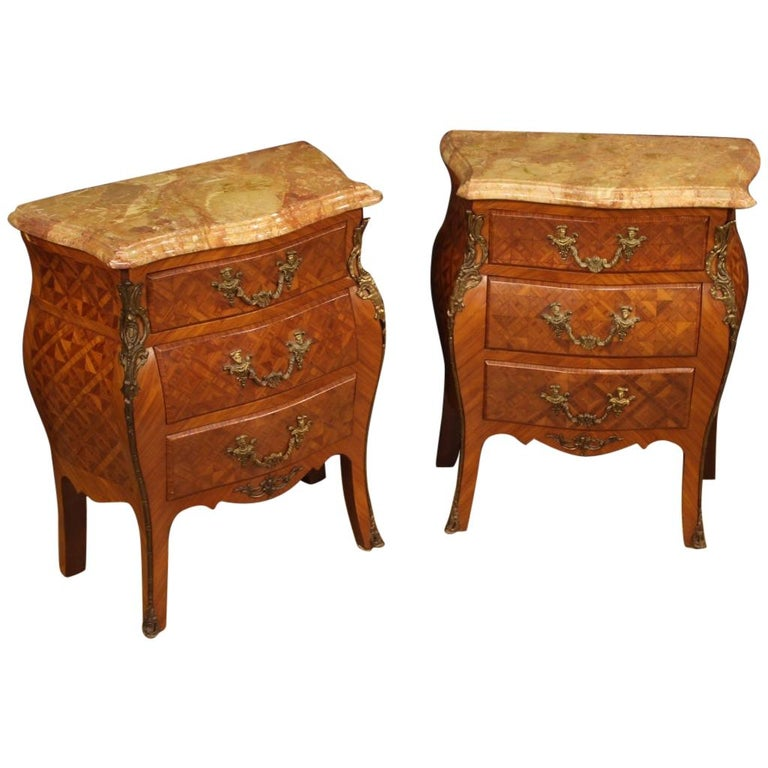 Pair of 20th Century Inlaid Wood with Marble Top French Bedside Tables, 1960