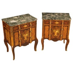 Pair of 20th Century Inlaid Wood with Marble Top French Nightstands, 1970