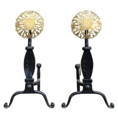 Pair of 20th Century Iron Andirons with Brass Medallions