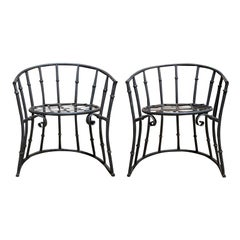 Pair of 20th Century Iron Barrel Form Chairs