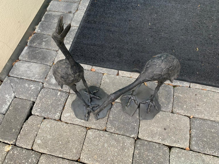 Pair of 20th Century Iron Cranes on Custom Lilypad Bases, Marked Japan For Sale 8