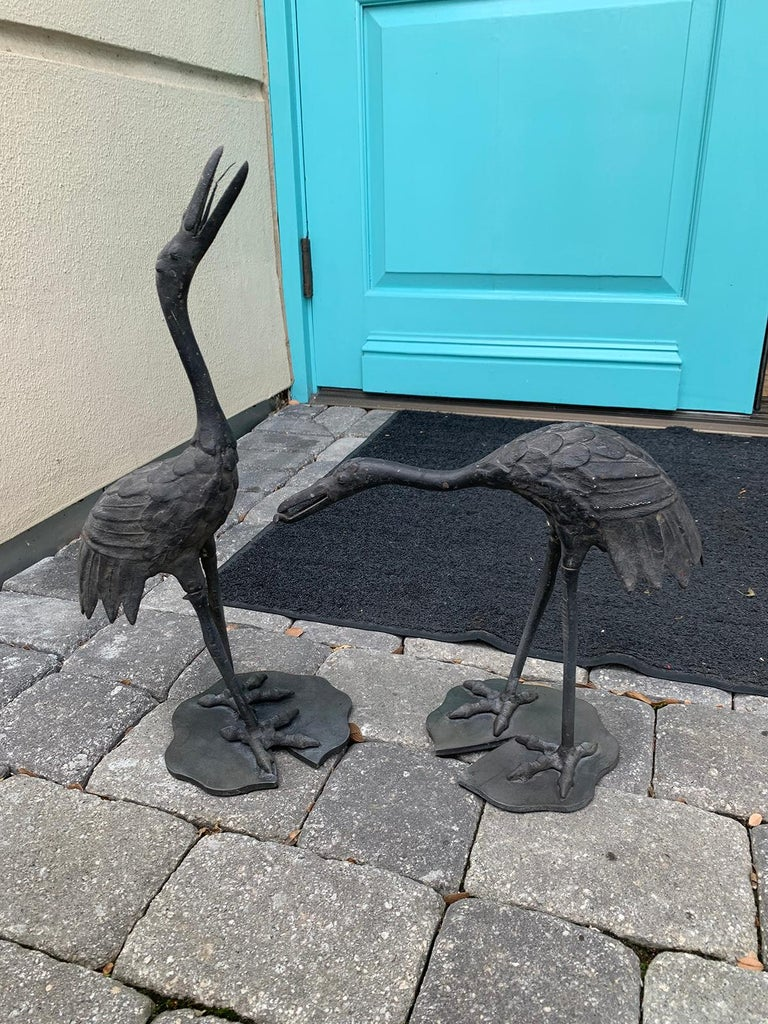 Pair of 20th Century Iron Cranes on Custom Lilypad Bases, Marked Japan For Sale 1