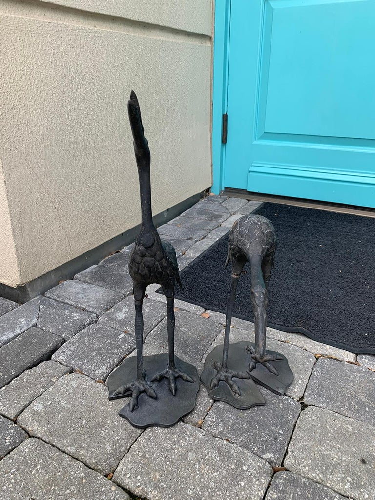 Pair of 20th Century Iron Cranes on Custom Lilypad Bases, Marked Japan For Sale 2