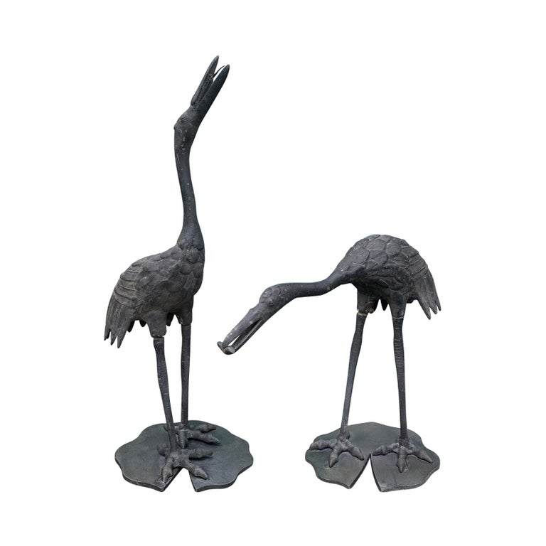 Pair of 20th Century Iron Cranes on Custom Lilypad Bases, Marked Japan For Sale